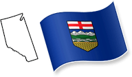 Flag and Map of Alberta