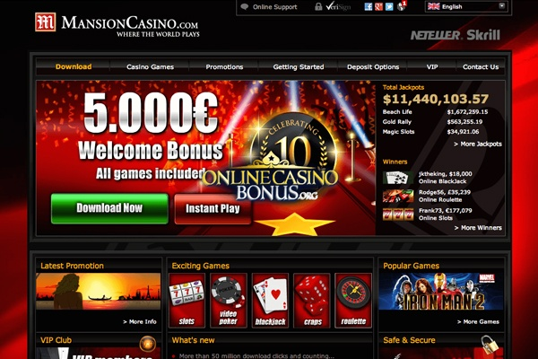 Mansion Casino Review 2021 - Win C$5000 Today